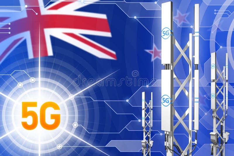 新西兰5G工业例证、大多孔的网络帆柱或者塔在现代背景与旗子- 3D例证 库存例证