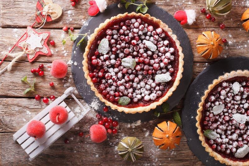 新近地被烘烤的圣诞节蔓越桔馅饼用糖粉和费斯特 库存照片