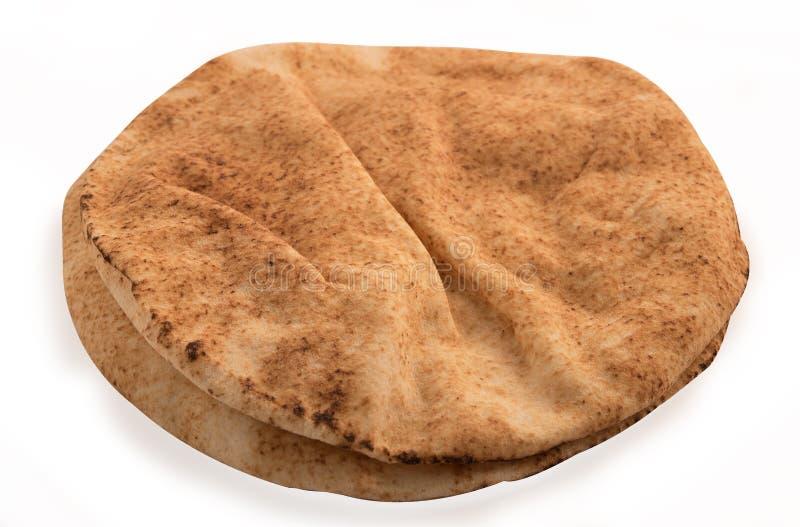 新近地被烘烤的阿拉伯平的面包叫kuboos 库存照片