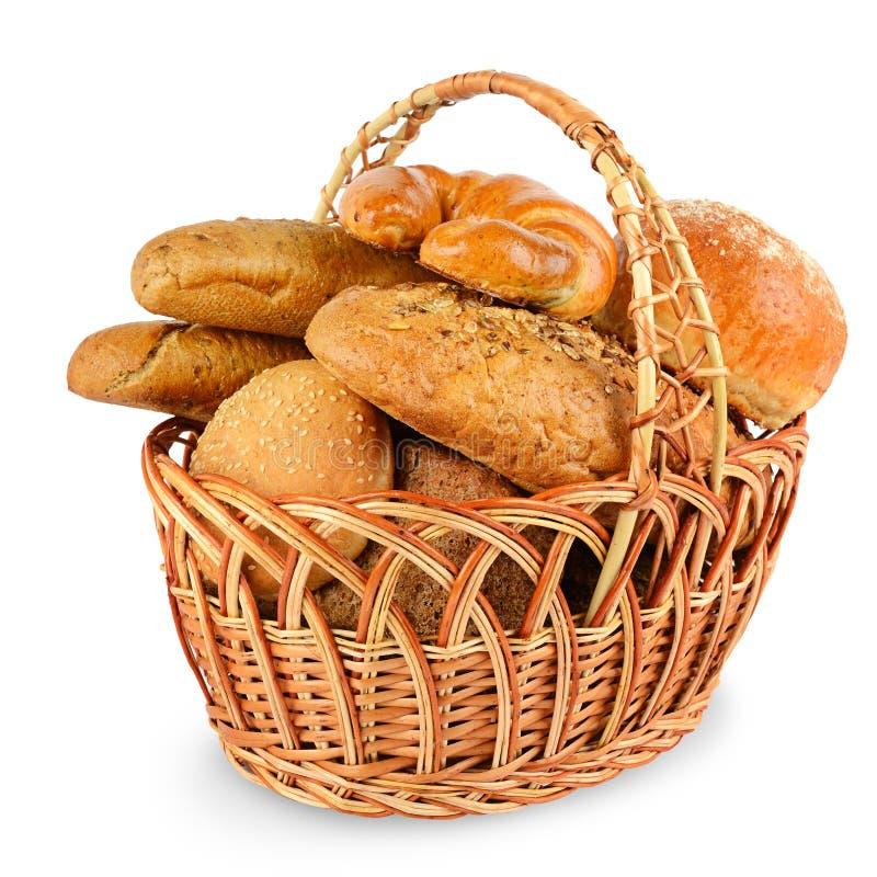新近地被烘烤的面包小圆面包,新月形面包,长方形宝石,谷物面包 免版税库存照片