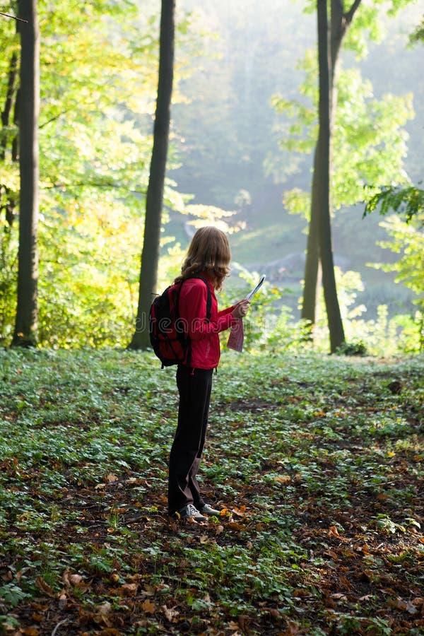 新远足者在晴朗的绿色森林里读了映射 免版税库存照片