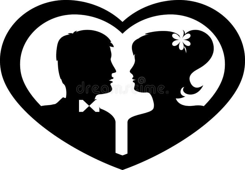 新郎和新娘剪影在心脏 反对白色背景的黑色 向量 向量例证