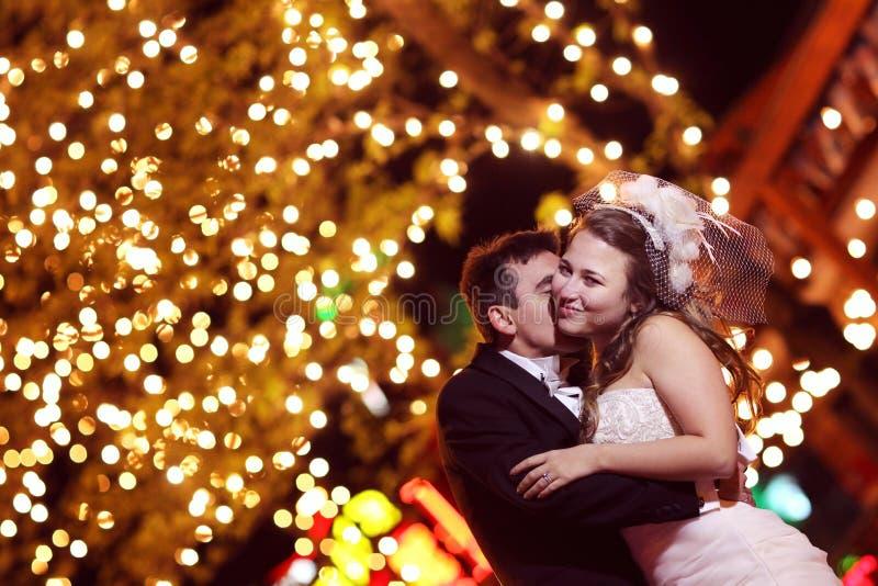 新郎和新娘在晚上 图库摄影