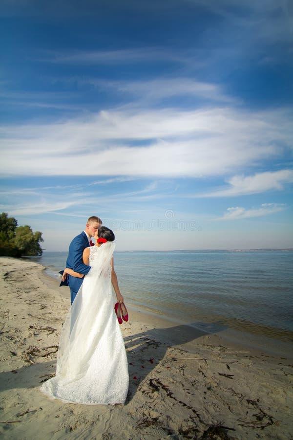 新郎和新娘在海滩亲吻 免版税库存照片