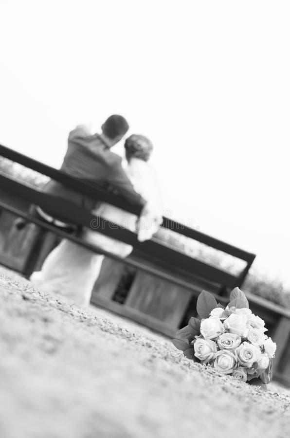 新郎和新娘坐长木凳-后面看法 图库摄影