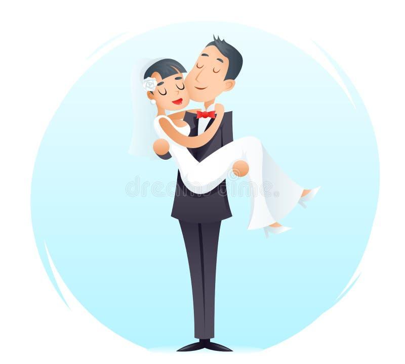 新郎拿着胳膊葡萄酒愉快的微笑的男女婚礼婚姻标志象减速火箭的动画片设计的逗人喜爱的新娘 向量例证