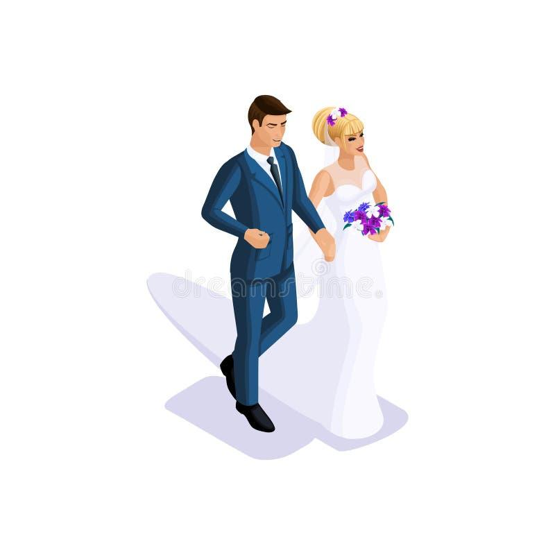 新郎的Isometrics和新娘在胳膊,一件美丽的礼服的新娘结婚有花束的 皇族释放例证