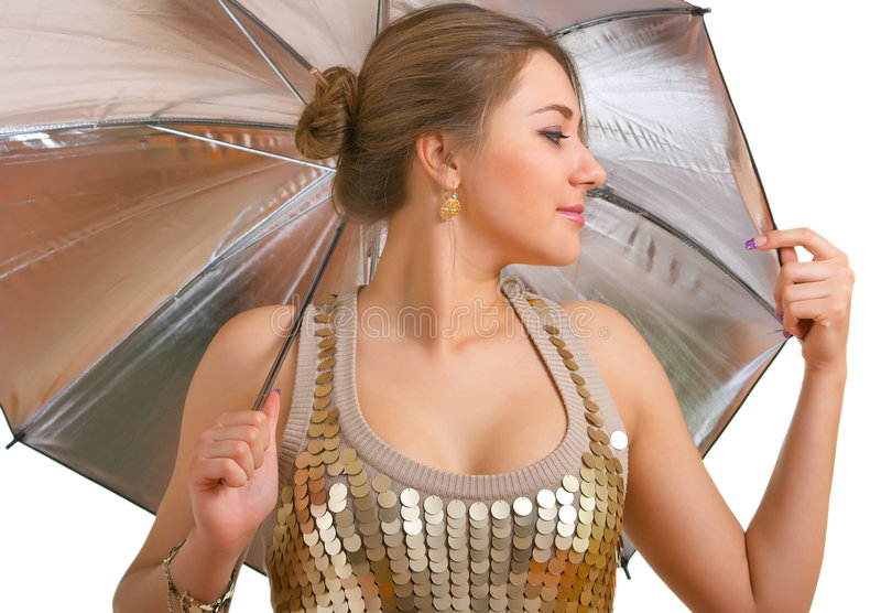 新银色伞的妇女 库存照片