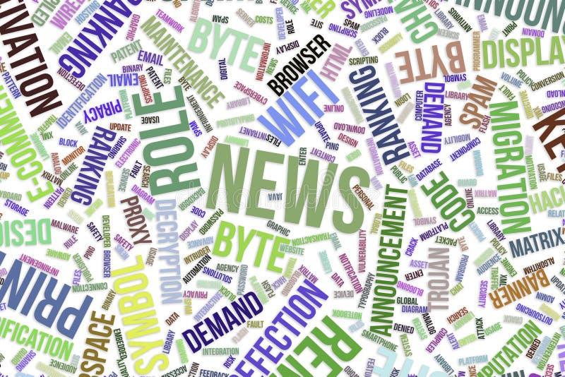 新闻、概念性词云彩事务的,信息技术或者IT 皇族释放例证
