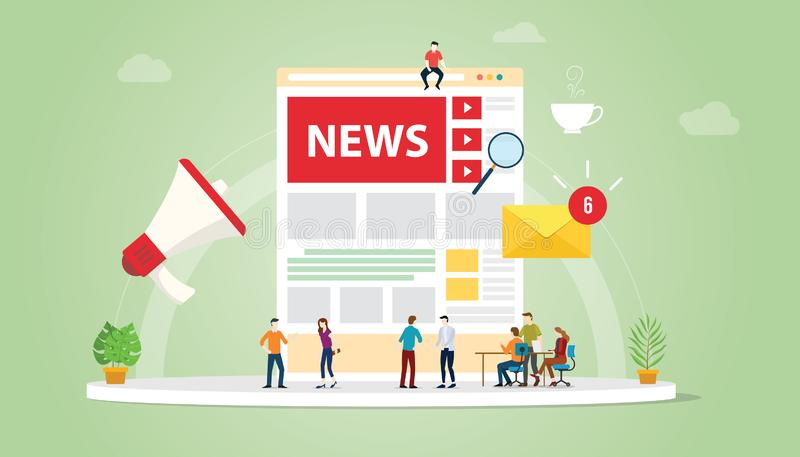 新闻与队人和网站页设计和通知更新标志象的更新概念与现代平的样式-传染媒介 库存例证