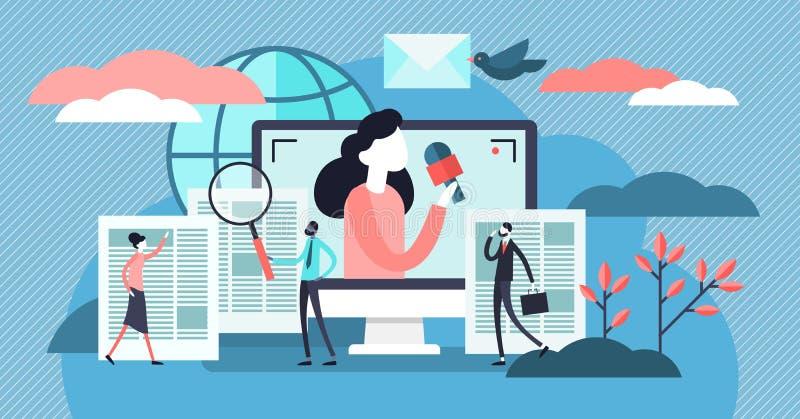 新闻传染媒介例证 平的微小的电视和时事通讯读的人概念 库存例证