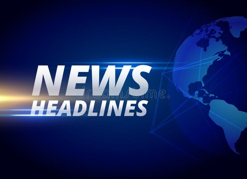 新闻列为头条新闻与地球行星的背景 库存例证