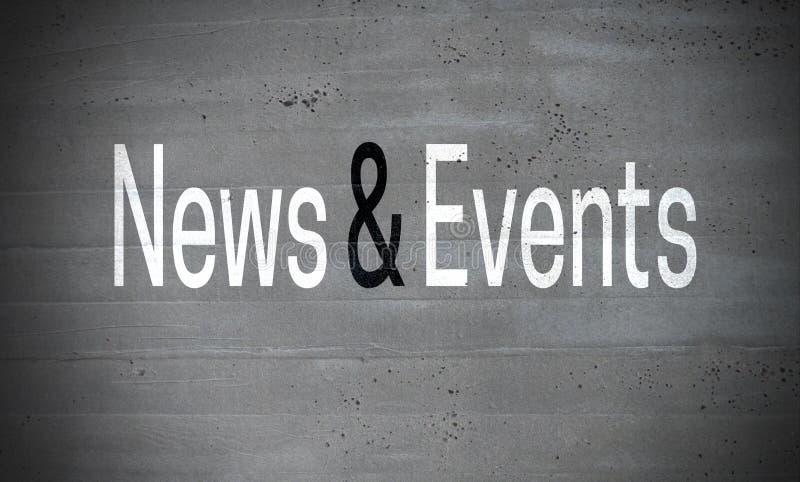新闻和事件在混凝土墙概念背景 免版税库存图片
