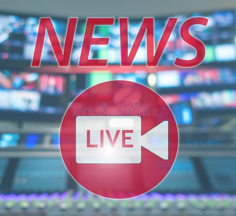 新闻居住 空气的广播演播室 媒介声音、收音机和电视纪录在显示器弄脏了背景 库存照片
