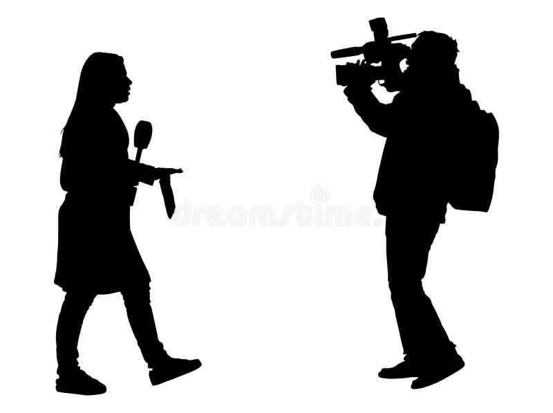新闻工作者新闻与摄象组剪影的记者采访 向量例证