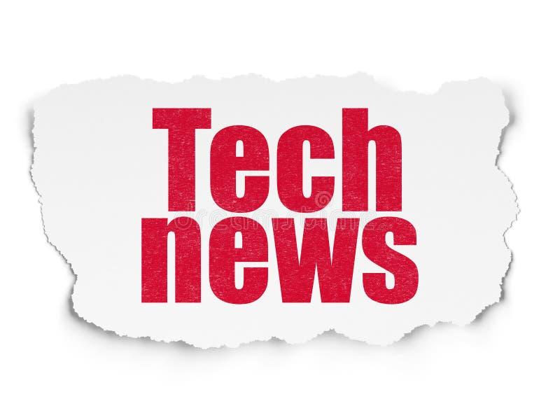 新闻概念:在被撕毁的纸背景的技术新闻 皇族释放例证