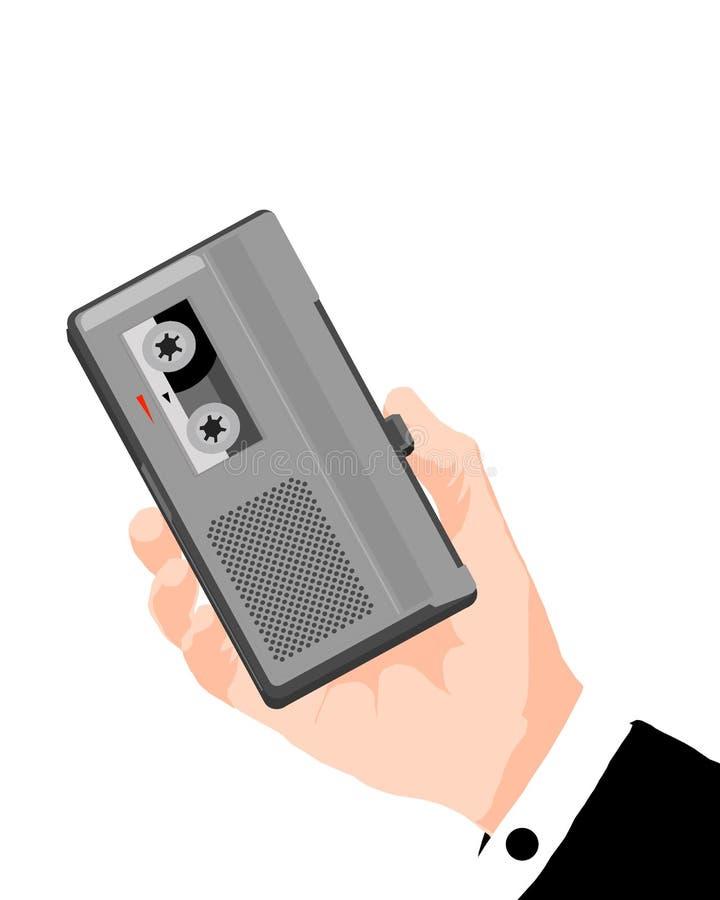 新闻记者微型记录磁带 库存例证