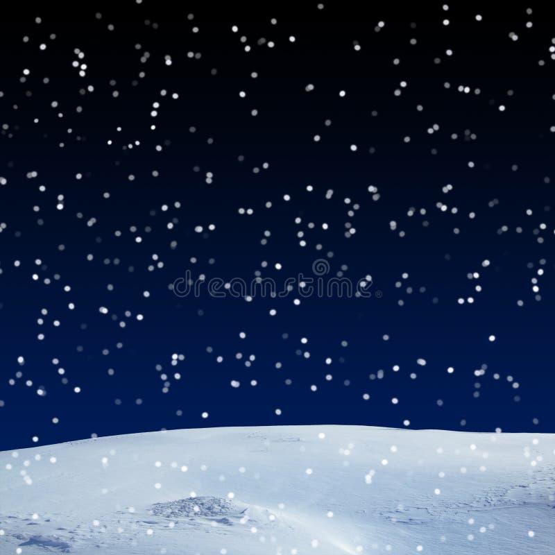 新雪盖,在晚上 库存照片