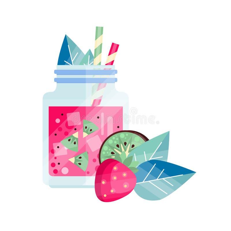 新饮料用草莓和猕猴桃 在玻璃瓶子的刷新的圆滑的人有冰块和吸管的 有机 库存例证