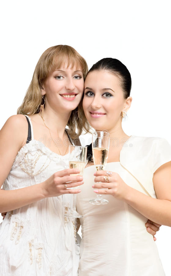 新香槟饮用的女孩 免版税库存图片
