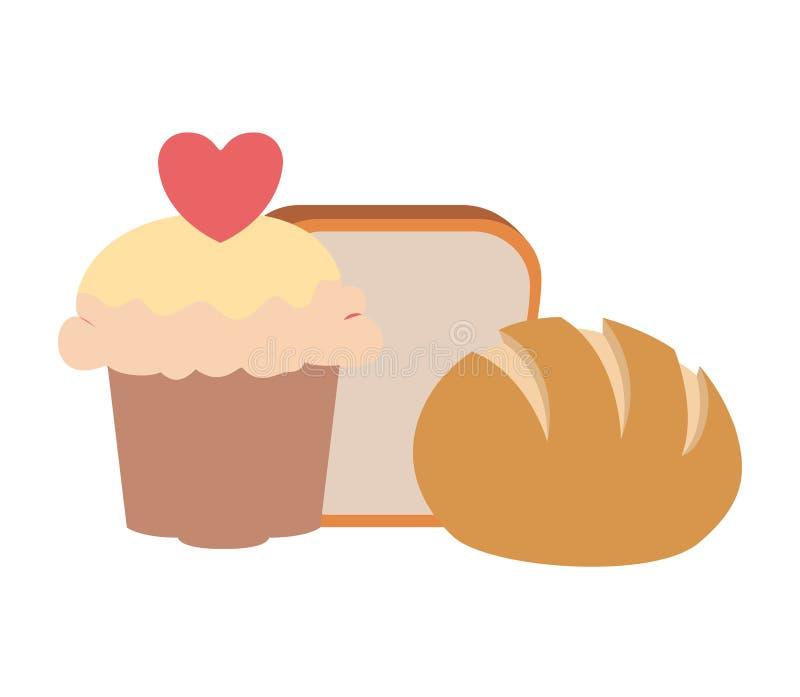 新鲜和可口面包店面包 皇族释放例证