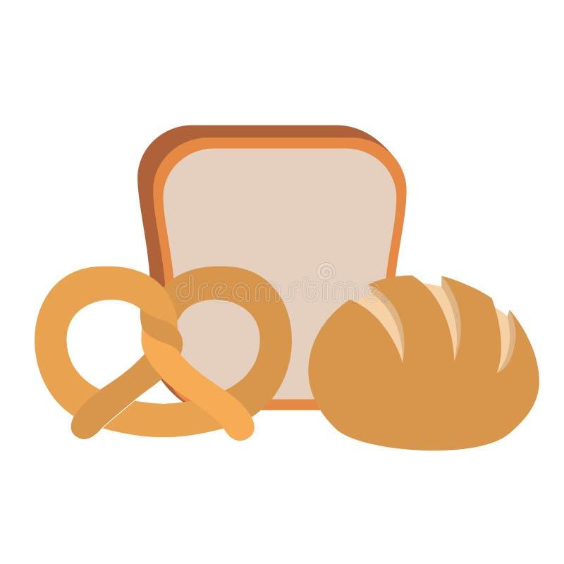 新鲜和可口面包店面包 向量例证