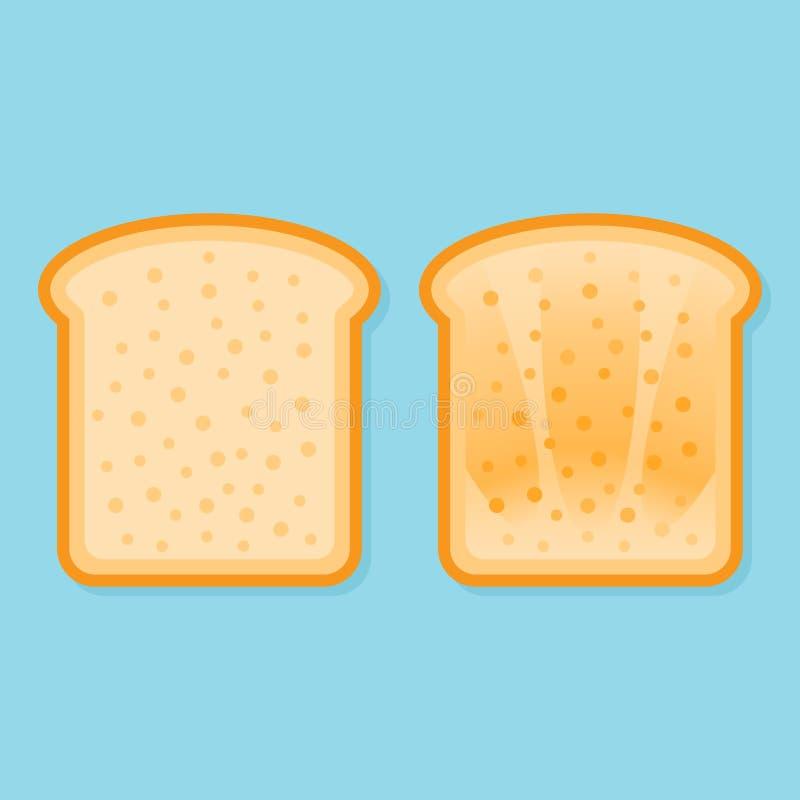 新鲜和敬酒的面包 平的样式传染媒介例证 向量例证