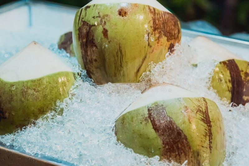 新鲜和甜绿色椰子 免版税库存照片