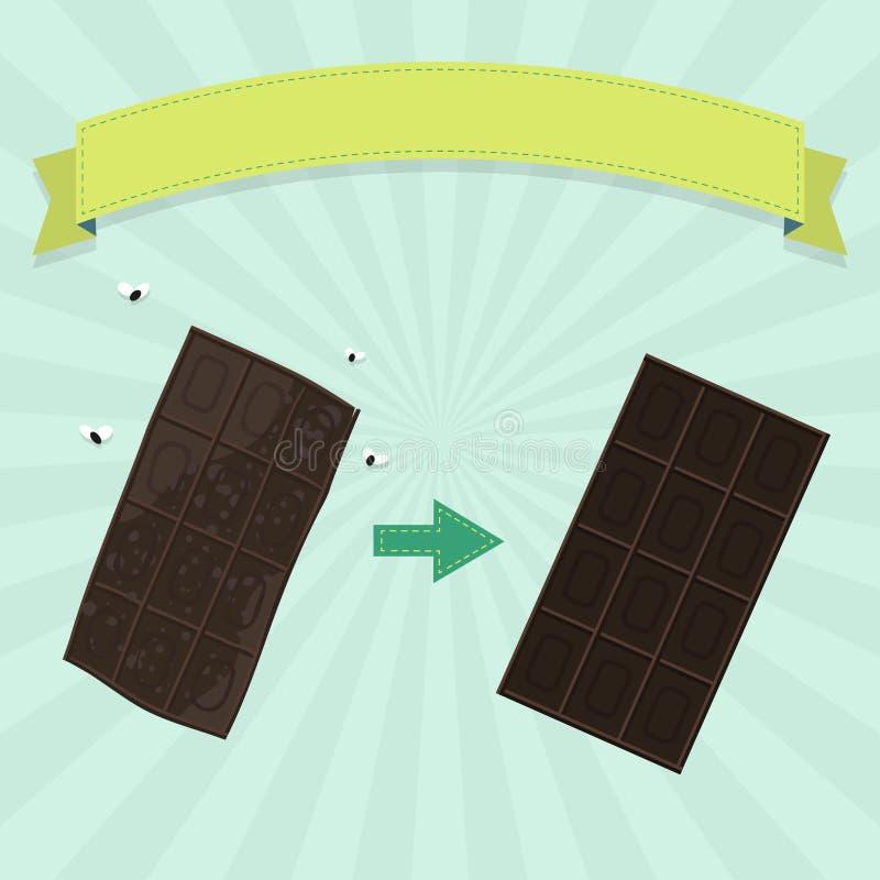 新鲜和腐烂的巧克力块 向量例证