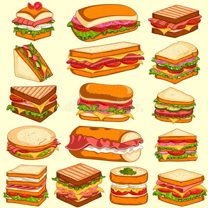 新鲜和鲜美三明治和汉堡另外品种  皇族释放例证