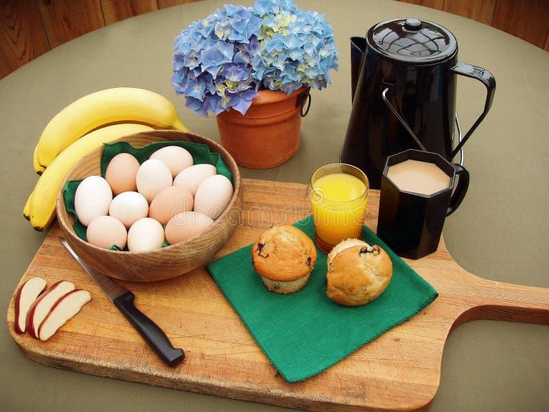 新鲜早餐的农场 库存图片