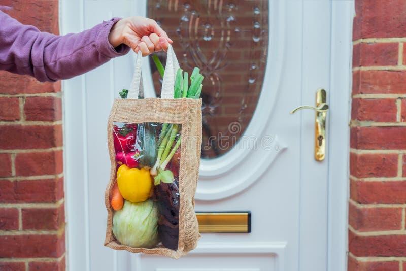 新鲜有机蔬菜递送概念 进屋前女手持可重复使用生态织物袋包装 库存图片