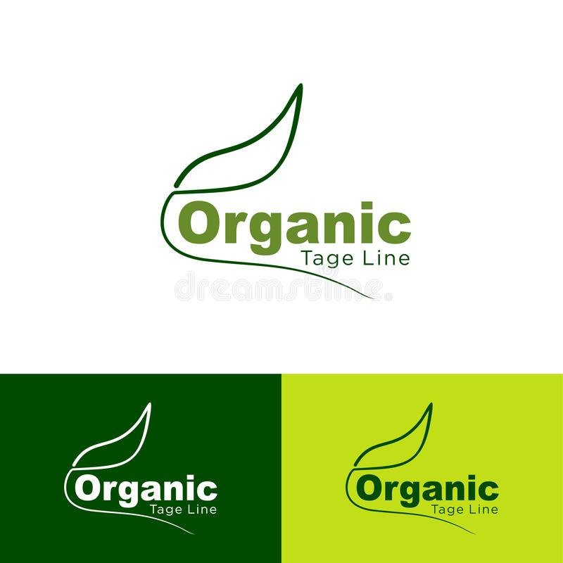 新鲜有机食品、的农场和天然产品象,自然的商标,有机,叶子绿色象,设计现代,为食物市场,ecommer 库存例证
