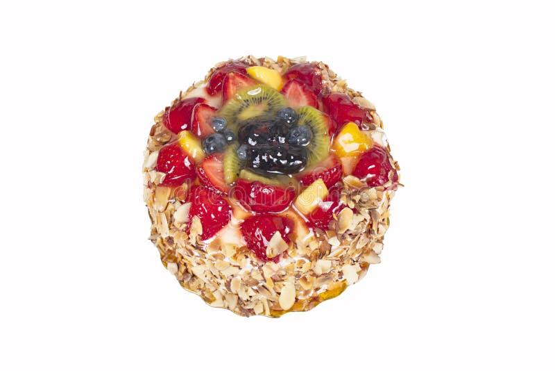 新鲜水果奶油蛋糕,给上釉的蛋糕 库存图片