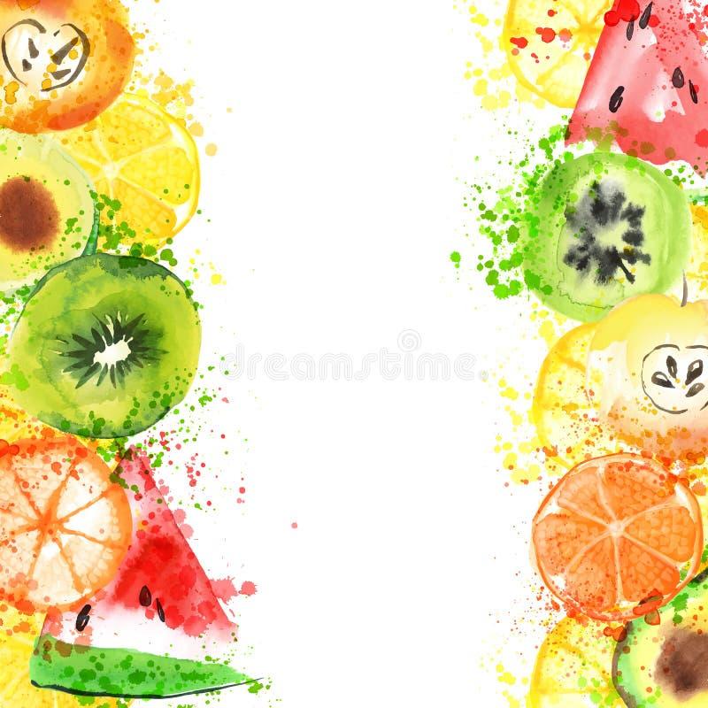 新鲜水果水彩横幅 Watercolored苹果、柑橘、鲕梨和qiwi在一副横幅与飞溅 健康 皇族释放例证