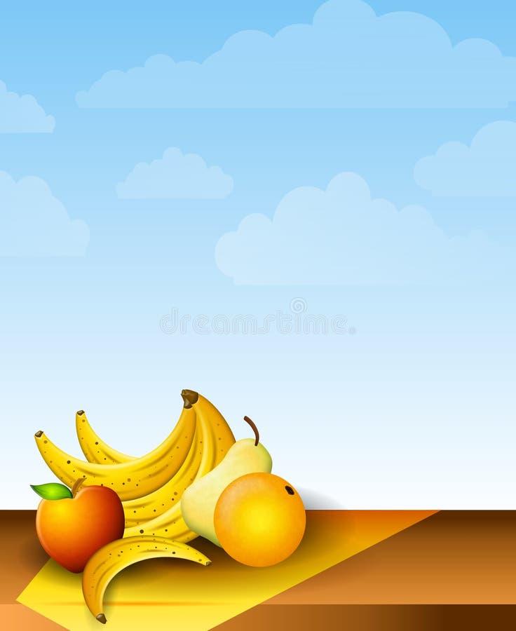 新鲜水果野餐桌 库存例证