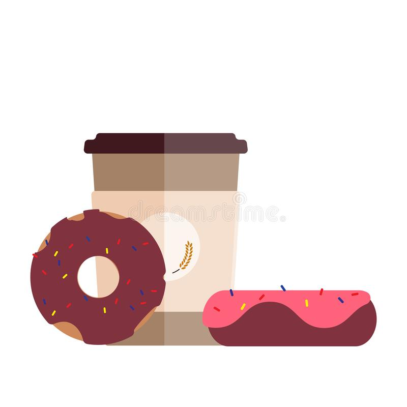 新鲜的咖啡杯和可口油炸圈饼 平的设计 皇族释放例证