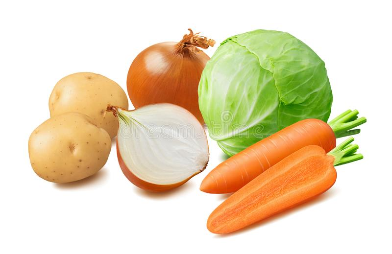 新鲜的圆白菜,土豆,红萝卜,在白色背景隔绝的葱菜 免版税库存照片