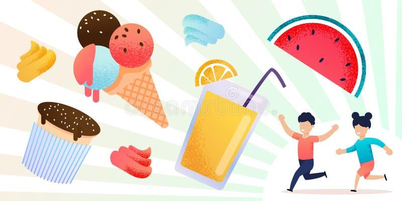 新鲜的夏天果子、甜点和愉快的儿童集合 向量例证