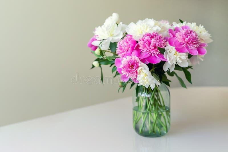 新鲜的大桃红色,白色和奶油色牡丹花束在简单的玻璃瓶子的在室内扫视桌上 库存图片