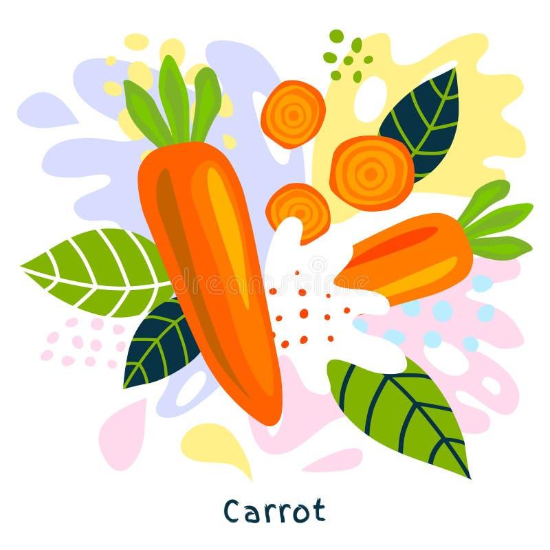 新鲜的成熟红萝卜蔬菜汁飞溅有机食品水多的菜在抽象背景传染媒介喷溅 皇族释放例证