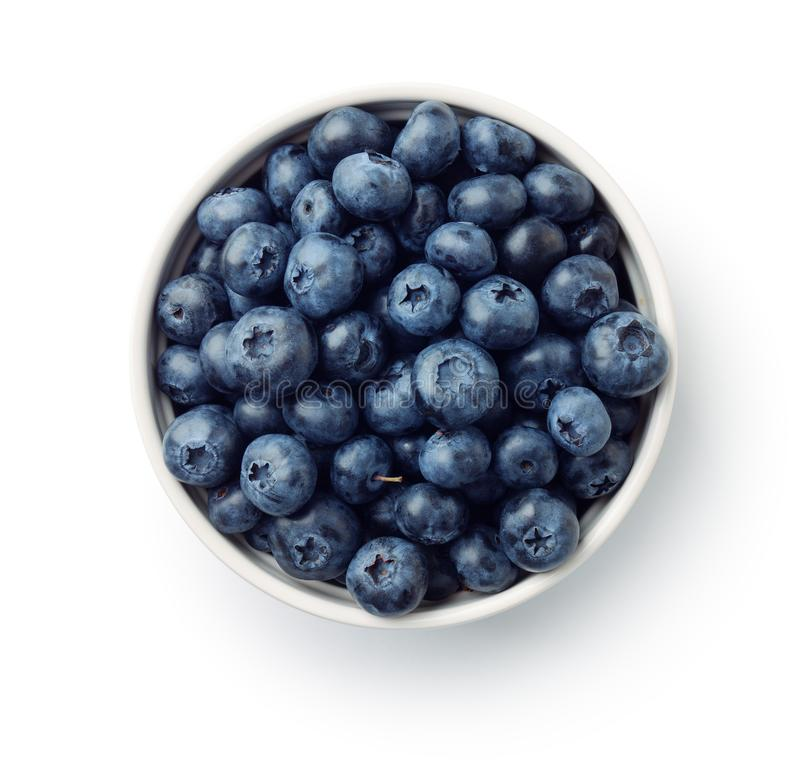 新鲜的成熟蓝莓顶视图在碗的 免版税图库摄影