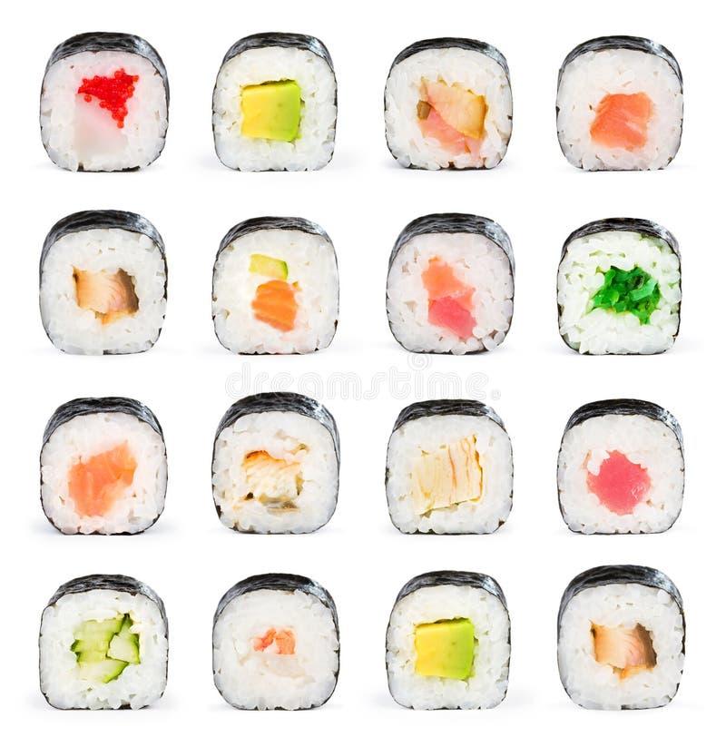 新鲜的拼贴画许多寿司 免版税库存图片