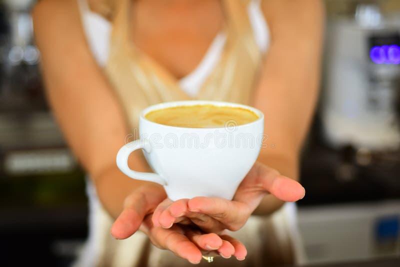 新鲜的早晨咖啡用牛奶和奶油生泡沫 完善的早晨用最佳的咖啡 在咖啡馆或咖啡馆放松 Barista 免版税库存图片