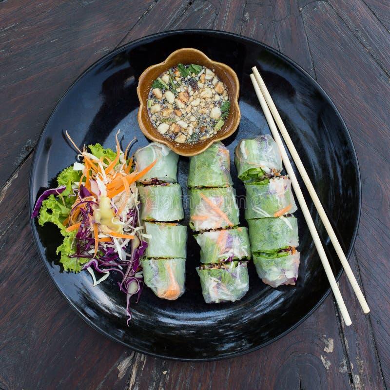 新鲜的春卷,越南食物 库存图片