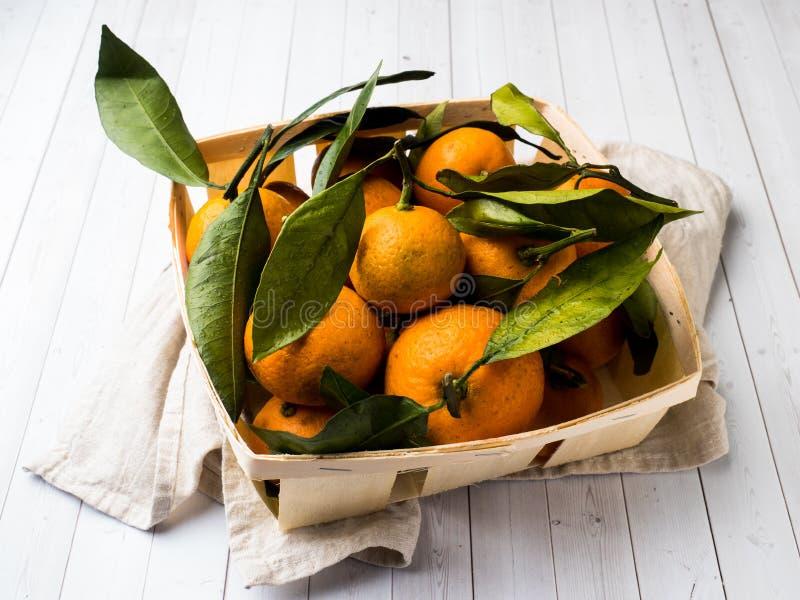 新鲜的普通话或蜜桔与词根和叶子在箱子在白色木背景 库存图片