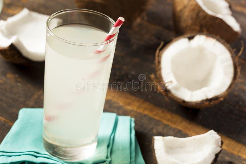 新鲜的有机椰子水 免版税库存图片