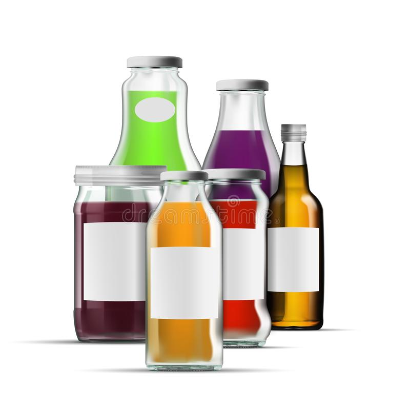 新鲜的有机汁液玻璃装包装集合的瓶于罐中 库存例证