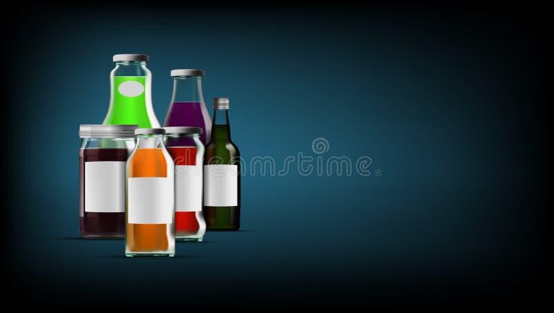 新鲜的有机汁液玻璃装包装集合的瓶于罐中 向量例证