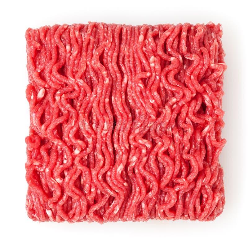 新鲜的未加工的牛肉在白色隔绝的肉末 免版税图库摄影